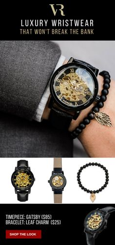 Black & Gold Wristwear featuring the Gatsby skeleton timepiece paired with Leaf Charm Bracelet. Click the link or image to shop this look today. #vodrich