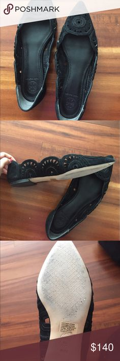 Tory Burch 'Leyla' ballerina flat Black suede material in a modern pinwheel design! Barely used. Dust bag included. Tory Burch Shoes Flats & Loafers