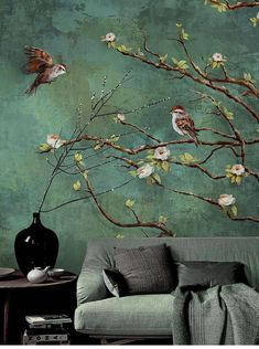 Vintage Dark Birds and Flowers Wallpaper, Nature Wall Mural, Floral Wall Art,Wall Decal, Dark Green Wall Sticke - Vintage donkere vogels en bloemen behang natuur wand Flowers Wallpaper, Photo Wallpaper, Wall Wallpaper, Nature Wallpaper, Living Room Wallpaper Ideas India, Green Floral Wallpaper, Dark Green Wallpaper, Chinoiserie Wallpaper, Bedroom Decor For Couples