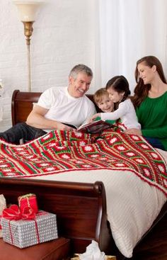 Snowflakes & Ribbons Throw Crochet Pattern