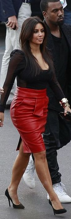 Who made  Kim Kardashian's red leather skirt and black pumps that she wore in West Hollywood on November 21, 2012?