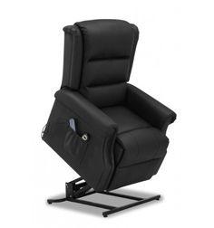 """Fauteuil est en simili cuir noir. Ce sublime fauteuilpossède en plus une fonction\\""""releveur\\"""" qui permet de passer aisément de la position assise à debou..."""