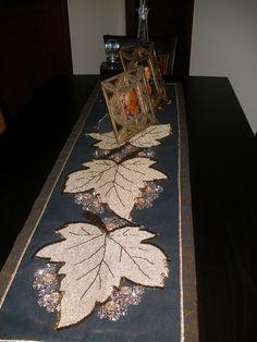Lapis...iocale: Κέντημα με χάντρες(Πλατανόφυλλα_χρυσό-καφέ)