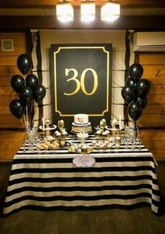 Birthday Surprise Party For Him 43 Ideas Surprise 30th Birthday, 30th Party, 70th Birthday Parties, Adult Birthday Party, Man Birthday, 30th Birthday Ideas For Men Party, Birthday Party Decorations For Adults, Black Party Decorations, Birthday Cake
