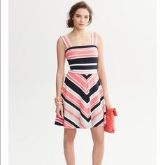 Milly forBanana Republic stripe fit&flare dress 8P Milly for Banana Republic striped fit & flare dress 8 Petite, zips in the back, navy, white, gray and coral/pink. Great on its own or dress it up more with a jacket. Worn only once and then dry cleaned. Like brand new. No signs of wear, etc.... Non smoking home Banana Republic Dresses