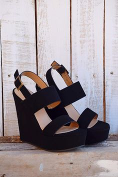 Yaaaass! We are in love!! These black wedges are amazing!! They go with everything and as a bonus, they are so comfy! Closure Type: Buckle Closure Location: Side Main Color: Black All Man Made Materia