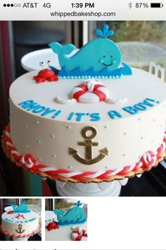 Red and teal whale cake