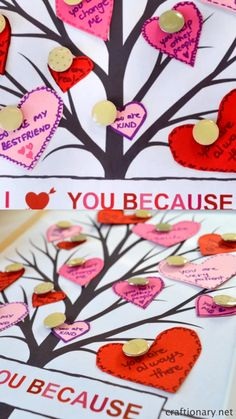 Valentines day gift idea - Make a tree of hearts with messages from your heart pinned on the tree for your valentine. Cute idea for all ages. Free printable on the blog at craftionary.net