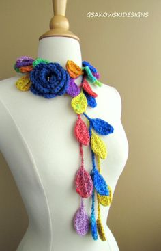 This romantic crocheted lariat is all about femininity and beauty. You can wear it as a necklace, lariat, scarf, scarflette, headband or you can wrap it around your waist as a belt.  Youll invent many more ways to wear it than I could show in the photos. This scarf is an excellent accessory for so many ensembles.  This creation has a lot of detail and all of it is hand-done.   It was made in a smoke-free environment.  Handmade with great care and love.  Never been worn. Care Instructions…