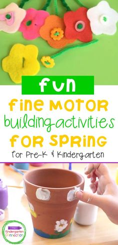 Developing fine motor skills in a fun way helps kids strengthen their hands and learn a lot more about their world at the same time. These 19 fun spring-themed fine motor activities are not only perfect for pre-writers and pre-readers but can also help older kids strengthen their fine motor skills as well. Your pre-K and kindergarten students will have a blast creating and completing these spring fine motor building activities! Fine Motor Activities For Kids, Motor Skills Activities, Spring Activities, Sensory Activities, Fine Motor Skills, Kindergarten Teachers, Kindergarten Activities, Pre K Pages, Flower Letters