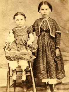 1860s CDV Pair of Country Sisters Youngest Holding Her Doll | eBay