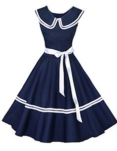 Maggie Tang Women's 50s Vintage Nautical Sailor Rockabilly Hepburn Pinup Business Swing Dress 526