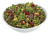 Raw Kale Salad with Pine Nuts, Dried Cranberries, Balsamic Vinegar, Extra Virgin Olive Oil from #YummyMarket #Kale