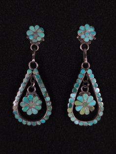 Vintage Zuni Silver and Turquoise Earrings - Dishta