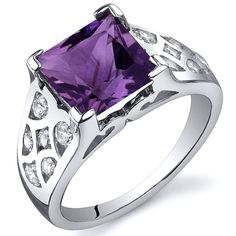 Amethyst Ring Sterling Silver Rhodium Nickel Finish Princess Cut 2.25 Carats Sizes 5 to 9 -- See this great product.