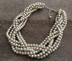 Champagne Statement Pearl Necklace Braided by haileyallendesigns, $36.00