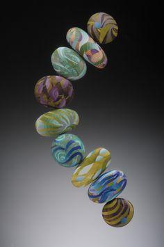 J.M. Syron & Bonnie Bishoff Seaweed big bead bracelet. Made from polymer clay.
