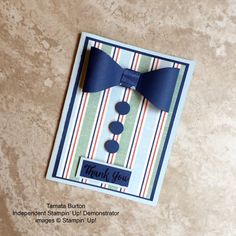 Tamara Burton, Candy Heart, made this manly card using By the Shore DSP by Stampin' Up! #stampcandy