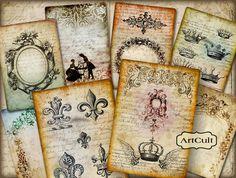 ANTIQUE STYLE BACKGROUNDS - Digital Collage Sheet - 8 Large Images Printable Jpg Download Vintage Paper Craft