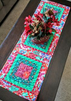 Boho Chic Christmas Table Runner, Bohemian, Hippie Chic, Global, Kaffe Fassett, Holiday Decor, Kitchen Linens, One of a Kind, Unique by LittleWheelerQuilts on Etsy