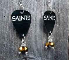 Black New Orleans Saints Guitar Pick Earrings with Gold Crystals by ItsYourPick on Etsy