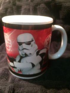 Star Wars Storm Trooper Darth Vader  Coffee Mug Cup 2007 Lucas Films 10 Oz Red