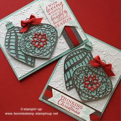 Just a hint of red and some rhinestones to make the delicate ornament thinlits (#1396677) festive. The words are from the coordinating embellished ornaments (#139759) stamp set. www.bonniestamp.stampinup.net