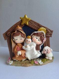 web.. Christmas Pasta, Christmas Clay, Christmas Nativity, Christmas Projects, Christmas Ornaments, Cute Polymer Clay, Fimo Clay, Clay Projects, Clay Crafts
