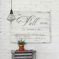 Unique family established hand-painted sign made from reclaimed barn wood by Aimee Weaver Designs Reclaimed Wood Signs, Barn Wood Signs, Painted Wood Signs, Wooden Signs, Rustic Wood Furniture, Western Furniture, Cabin Furniture, Furniture Design, Established Family Signs