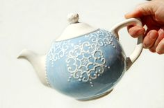 Blue teapot detailed with white accent by Dprintsclayful on Etsy,