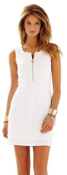 RARE Lilly Pulitzer Lynd WHITE Sleeveless Shift Dress Sz Small * ONLY 1 on ebay #LillyPulitzer #Shift