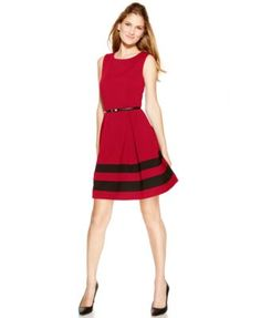 Calvin Klein Sleeveless Belted Stripe Dress One of my favorite cuts for work, perfect to wear with a sweater or blazer over it