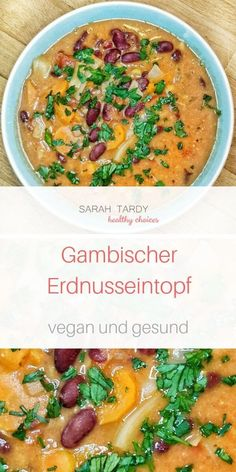 Gambischer Erdnuss-Eintopf - sarah tardy Gambischer Erdnuss-Eintopf The dish can be prepared quickly, freezes well and tastes delicious. Chinese cabbage and paparika pods come in the original recipe, Crock Pot Recipes, Easy Soup Recipes, Vegetarian Recipes, Chicken Recipes, Dinner Recipes, Healthy Recipes, Vegetarian Lifestyle, Snacks Recipes, Peanut Stew Recipe