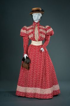 Printed dotted Swiss day dress with silk chiffon, silk taffeta, and cotton braid embellishments, by P. Barroin, French (Paris), c. 1897.