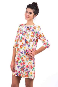 Cream Floral Shift Dress. Refresh your wardrobe with this gorgeous floral dress!   Perfect for a sunny day! Simply team up with a pair of lovely of sandals   and a shoulder bag for that finishing touch!   Key features inlcude a round neckline, zip fastening at the back of the neck with 3/4 sleeves.   Grab this fabulous dress now at only £17.99!