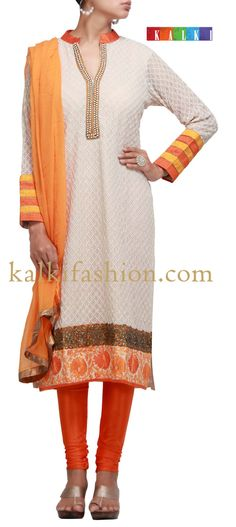 Buy it now  http://www.kalkifashion.com/beige-suit-with-moti-work-on-placket.html  Beige suit with moti work on placket