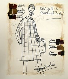 """Bonnie Cashin Sketch- """"Patchwork party"""" coat with her classic silhouette"""