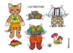 Karen`s Paper Dolls: Cat Brother 1-3 Paper Doll to Print in Colours. Kattebror…