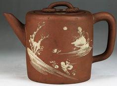 A Chinese Antique Yixing Polychrome Zisha Teapot : Lot 33