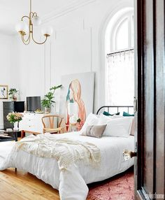 Plascon House Tour: Parisian-Inspired Studio – Home Decor On A Budget Parisian Bedroom Decor, Feminine Bedroom, Home Decor Bedroom, Cozy Bedroom, Bedroom Apartment, Parisian Apartment, Apartment Goals, Bedroom Ceiling, Bedroom Sets