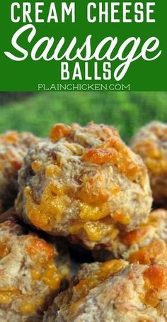 Cheese Sausage Balls - this recipe will change the way you make sausage ball forever! Seriously THE BEST sausage balls EVER!Cream Cheese Sausage Balls - this recipe will change the way you make sausage ball forever! Seriously THE BEST sausage balls EVER! Finger Food Appetizers, Yummy Appetizers, Finger Foods, Appetizer Recipes, Sausage Appetizers, Appetizers For Potluck, Cream Cheese Recipes Dinner, Pimento Cheese Recipes, Appetizer Dessert