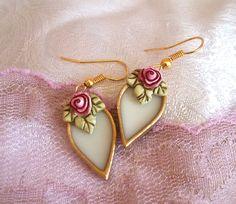 Teardrop earrings. vintage style earrings. white dangle earrings. dangle drop…