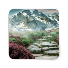 Stone Staircase to the Mountain Top Square Sticker - stones diy cyo gift idea special