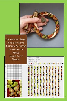16 around bead crochet rope pattern and a photo showing what a necklace made using that pattern looks like. I did not create the pattern or necklace. I simply put the two together as I find it useful to see the finished piece next to the pattern when choo Crochet Beaded Necklace, Beaded Necklace Patterns, Crochet Bracelet, Bead Crochet Patterns, Bead Crochet Rope, Beading Patterns, Bead Embroidery Jewelry, Beaded Embroidery, Seed Beads