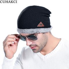 CUHAKCI Brand Velvet Beanies Men's Winter Hat Wool Caps Outdoor Skullies Gray Hats For Men Black Coffee Beanie Wool Warm Baggy