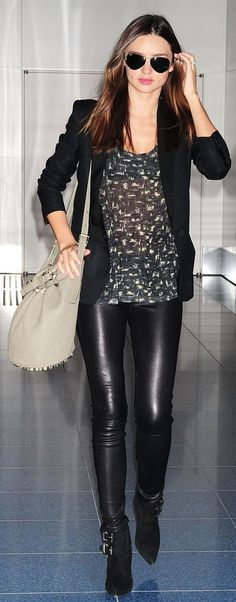 Miranda Kerr // black leather outfit