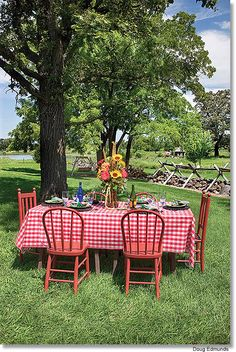 Country Charm...love the checkered tablecloth!