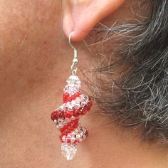 Beaded earrings - Cellini spiral in red and silver