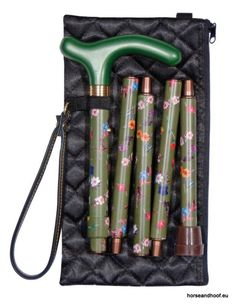 Classic Cane Folding Handbag Stick With Quilted Evening Case - Green Floral…