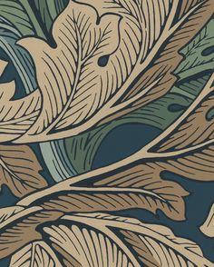 Tapet Acanthus Slate Blue/Thyme från William Morris & Co (artikelnummer 81571 ) hittar du på Tapetorama, Skandinaviens ledande butik för tapeter och tyger.